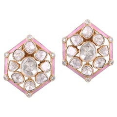 18 Karat Gold Polki White Diamond Studs