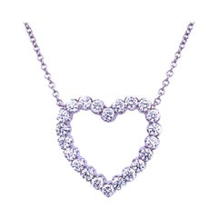 1.65 Ct 18 Karat Gold Prong Set Heart Necklace
