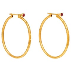 18 Karat Gold PSTM Myanmar Aawine Large Hoop Earrings