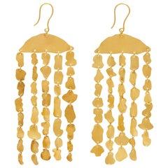18 Karat Gold PSTM Myanmar Kan Halfmoon Fringe Earrings