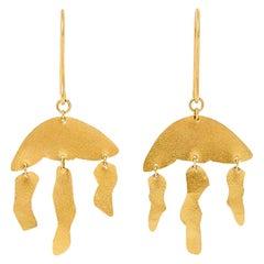 18 Karat Gold PSTM Myanmar Kan Halfmoon Three Drop Earrings