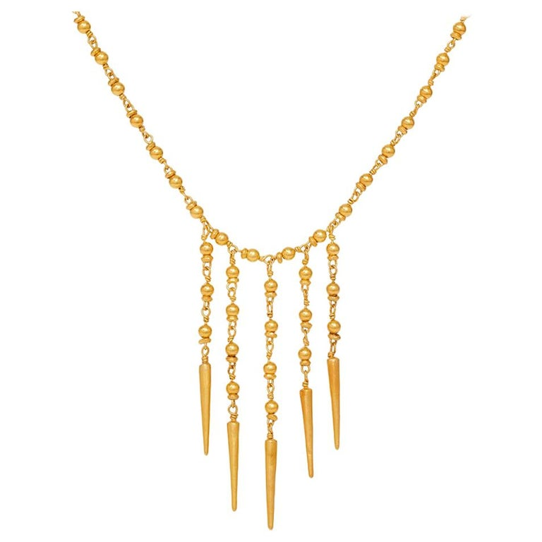 18 Karat Gold PSTM Myanmar Yuzana Five Drop Necklace For Sale