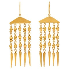 18 Karat Gold PSTM Myanmar Yuzana Halfmoon Fringe Earrings