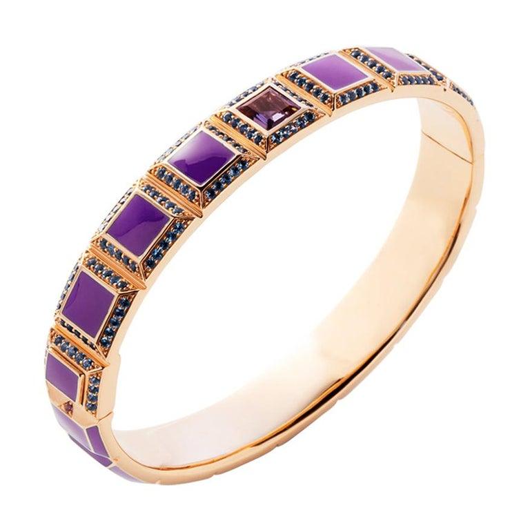 18 Karat Gold Purple Enamel Carousel Bracelet For Sale