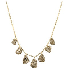 18 Karat Gold Pyrite Dazzle Seven Stone Drill and Loop Necklace