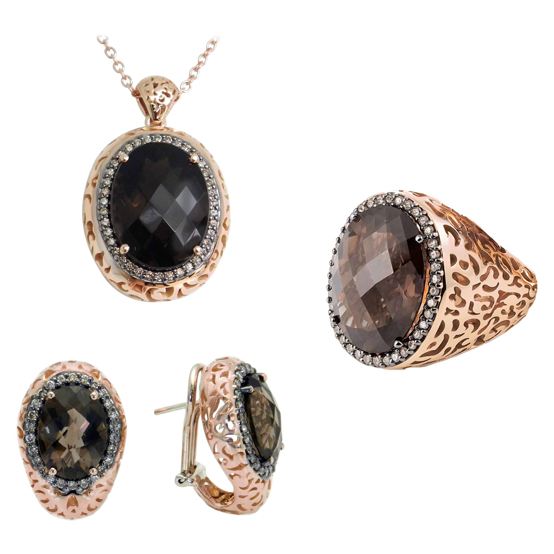 18 Karat Gold Quartz and Brown Diamonds Garavelli Set of Ring Necklace Earrings