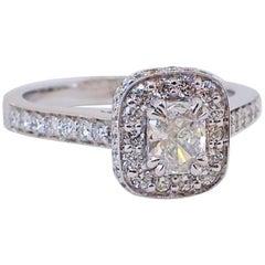 18 Karat Gold Radiant Cut Diamond Halo Engagement Ring, 0.81 Carat of Diamond