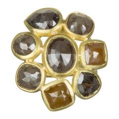 18 Karat Gold Raw Diamond Daisy Ring