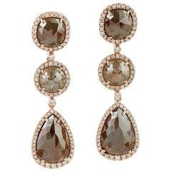 18 Karat Gold Raw Natural Brown 16.1 Carat Diamond Earrings