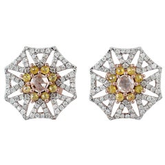 18 Karat Gold Raw Natural Rosecut Diamond Stud Earrings