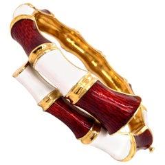 18 Karat Gold Red and White Enamel Bamboo Bracelet