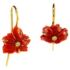 18 Karat Gold Red Coral Diamond Carved Flower Dangle Drop Crafted Earrings