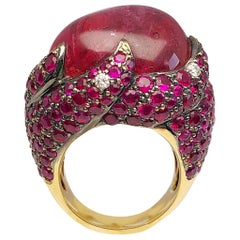 18 Karat Gold Red Spinel and 10.50 Carat Ruby and .41Ct Diamond Cocktail Ring