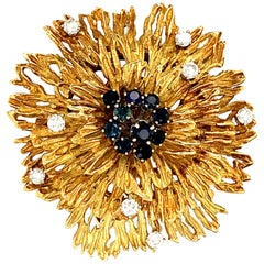 18 Karat Gold Retro Diamond and Sapphire Brooch Pin/Pendant