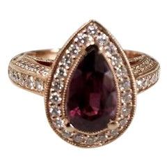 18 Karat Gold Rhodolite Garnet and Diamond Halo Beaded Ring with Hand Engraving