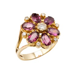 Rhodolite Garnet Diamond Flower Cluster Cocktail Ring 18 karat Gold
