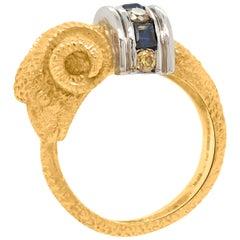 18 Karat Gold Ring Depicting a Ram Head