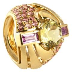 18 Karat Gold Ring Pink Sapphire Kunzite
