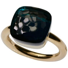 "18 Karat Gold Ring Pomellato ""Nudo Maxi"" London Blue Topaz"