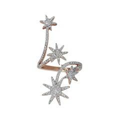 18 Karat Gold Ring Rose Gold Diamond Pave Ring Starburst Ring