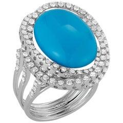 18 Karat Gold Ring with 12.54 Carat Aquamarine Cabachon Stone and 117 Diamonds