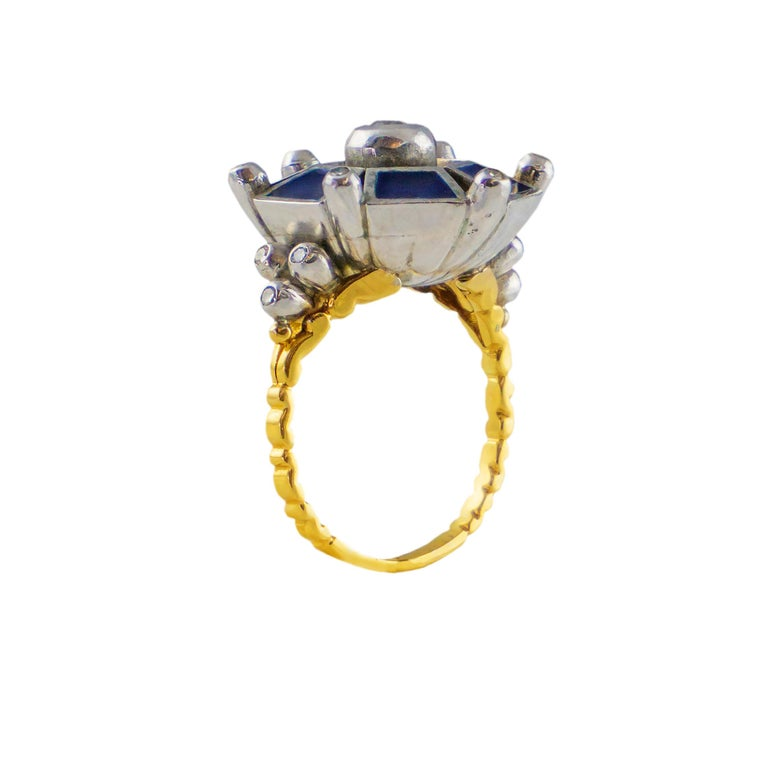 Modern 18 Karat Gold Ring with Diamonds For Sale