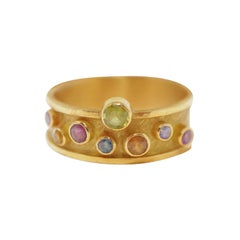 18 Karat Gold Ring with Multicolored Sapphires by Barbara Heinrich