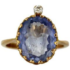 18 Karat Gold Ring with Natural Ceylon Sapphire and Diamond, Birmingham 1990