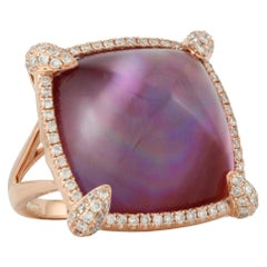 18 Karat Gold Ring with Sugarloaf Cabochon Amethyst, Mother of Pearl & Diamonds