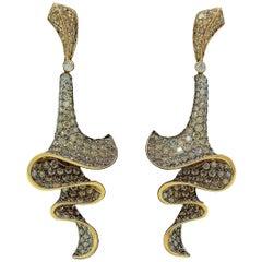 "18 Karat Gold Rodney Rayner Diamond ""Truffle"" Collection Earrings"