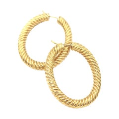 18 Karat Gold Rope Oval Shape Solid Hoop Earrings
