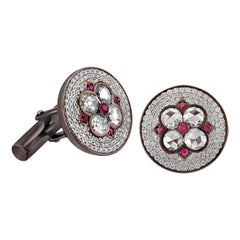 18 Karat Gold Rose Cut Diamond and Ruby Cufflinks