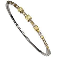 18 Karat Gold Rose Cut Diamond Bangle with Black Rhodium