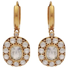 18 Karat Gold Rose Cut Diamond Drop Loop Earrings