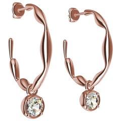 18 Karat Gold Rose Organic Dangle GIA Diamond Earring Hoops