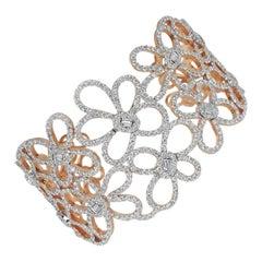 18 Karat Gold Rose Gold Diamonds Pave Fashion Open Cuff Bangle Bracelet