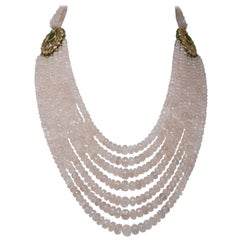 18 Karat Gold Rose Quartz Diamond and Ruby Kundan Necklace