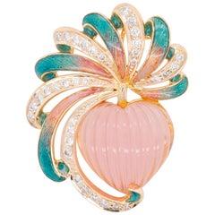 18 Karat Gold Rose Quartz Heart Carving French Enamel Diamond Pendant Necklace