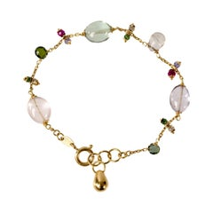 18 Karat Gold Rose Quartz, Prasiolite and Spinel Bracelet Handmade in Italy