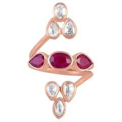 18 Karat Gold Rosecut Diamond Ruby Ring