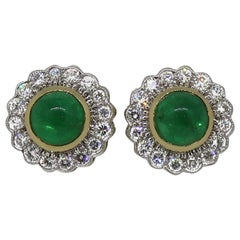 18 Karat Gold Round Cabochon Emerald and Diamond Art Deco Style Earrings