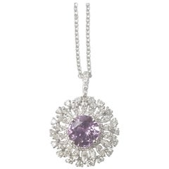 18 Karat Gold Round Natural No Heat Fancy Lavender Sapphire and Diamond Pendant