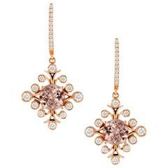 18 Karat Gold Round Peach Morganite Earrings with Diamonds 2/3 Carat