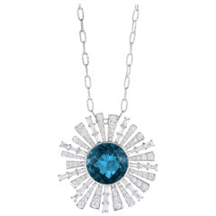 18 Karat Gold Round Pendant Necklace with London Blue Topaz & Baguette Diamonds