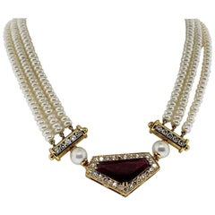 18 Karat Gold, Rubelite '11.17 Carat' Diamond '2.48 Carat' and Pearl Necklace
