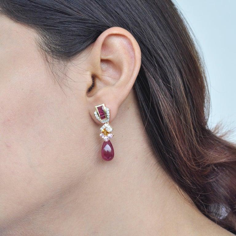 18 Karat Gold Rubellite Drop Pink Tourmaline Baguette Citrine Diamond Earrings For Sale 4