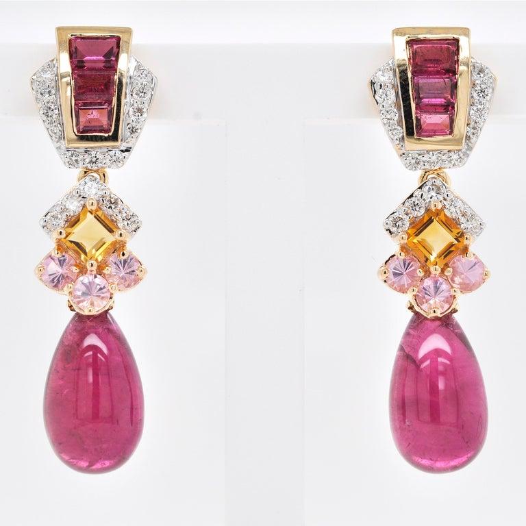 Contemporary 18 Karat Gold Rubellite Drop Pink Tourmaline Baguette Citrine Diamond Earrings For Sale