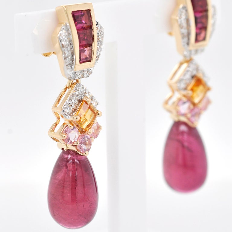 18 Karat Gold Rubellite Drop Pink Tourmaline Baguette Citrine Diamond Earrings In New Condition For Sale In Jaipur, Rajasthan