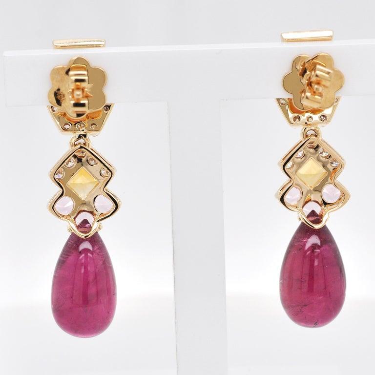18 Karat Gold Rubellite Drop Pink Tourmaline Baguette Citrine Diamond Earrings For Sale 1