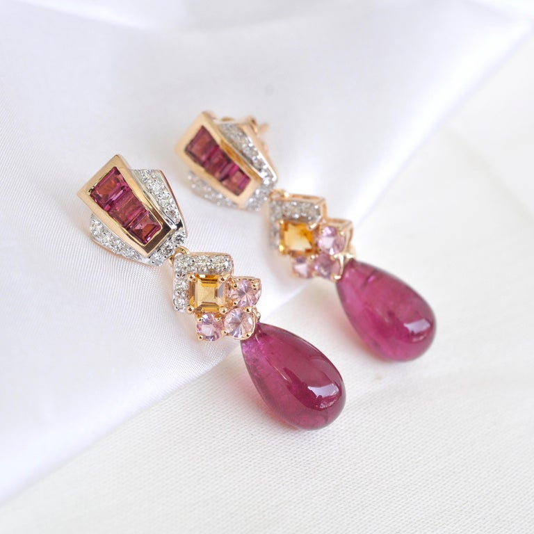 18 Karat Gold Rubellite Drop Pink Tourmaline Baguette Citrine Diamond Earrings For Sale 2